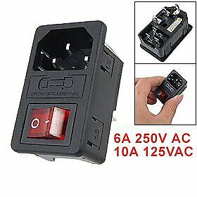 SODIAL(R) Inlet Male Power Socket With Fuse Switch 10A 250V 3 Pin IEC320 C14 K6Q • 2.48£