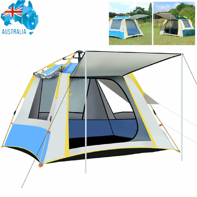AU66.79 • Buy 3-4 Persons Automatic Quick Open Camping Tent Waterproof Family Hiking Outdoor
