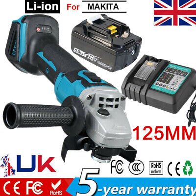 View Details Cordless Angle Grinder 125mm For Makita Impact Wrench / 5.0AH Battery/ Charger • 91.57£