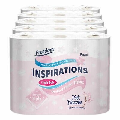 Freedom Inspirations Quilted 3 Ply Scented Toilet Paper - 45 Rolls • 12.29£