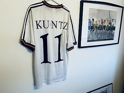 Germany Adidas Football Home Shirt 1996 Adults XXL Number 11 Kuntz Authentic • 39.99£