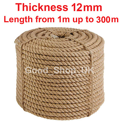 12mm Thick Heavy Duty Jute Rope High Quality Twisted Braided Garden Decking Cord • 15.87£
