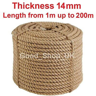 14mm Thick Heavy Duty Jute Rope High Quality Twisted Braided Garden Decking Cord • 2.32£