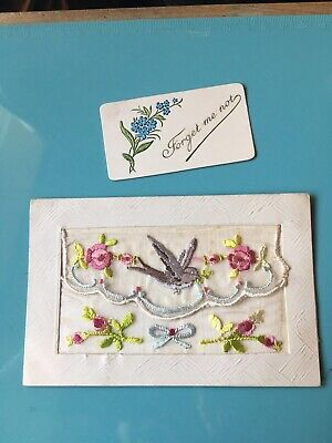 Ww1 Silk Postcard With Bird & Roses Design & Forget Me Not Insert • 3.99£