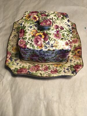 $ CDN75.95 • Buy Vintage Royal Winton Grimwades Summertime Chintz Lidded Butter Dish