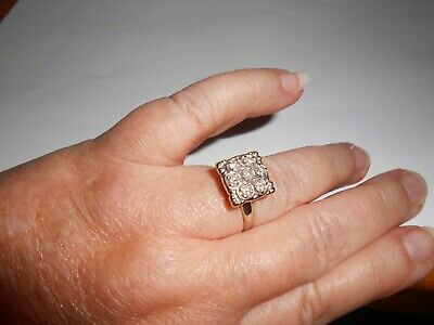 14ct Square Diamond Cluster Ring....art Deco Design ...stunning Piece • 495£