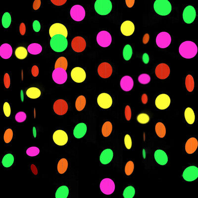 Tapes Banner Hanging Decorations Black Light Party Supply Neon Star Circle Dots • 5.85£
