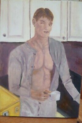 Male Nude Bad Boy Portrait Oil On Canvas Gay Interest • 55£