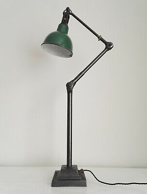 DUGDILLS. LARGE 1930s FACTORY BENCH/FLOOR LAMP. CAST BASE. INDUSTRIAL ANGLEPOISE • 695£