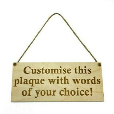 Personalised Wooden Sign Plaque Custom Bespoke Made Wall Door Hanging Gift Idea • 4.50£