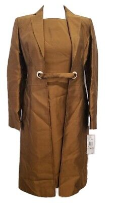 £21.17 • Buy Anne Klein Suit Two Piece Coat And Dress Set Tawny Copper Size 2 NWT
