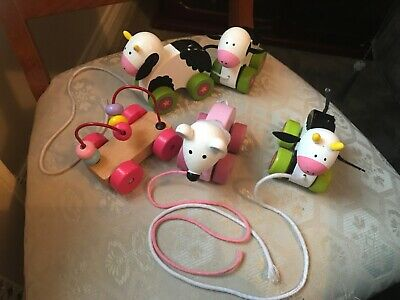 Orange Tree Toys Wooden Pull Push Along Toys Cows Mouse • 14.99£