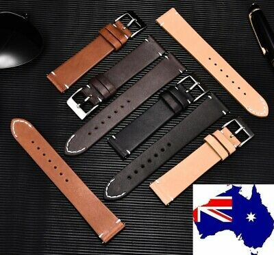 AU29.99 • Buy Stitched Tip Quick Release Oiled Saddle Leather Italian Style Watch Band Strap