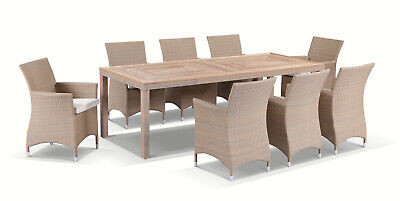 AU2490 • Buy NEW Sahara 8 Seater Rectangle Teak And Wicker Dining Table And Chairs Setting