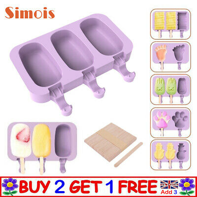 DIY Silicone Ice Mould Frozen Tool Cake Tray Lolly Baking Juice  Mold Ice Cream • 7.13£