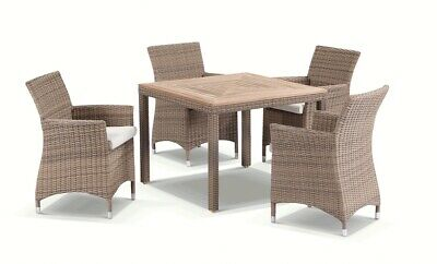 AU1490 • Buy NEW Sahara 4 Seater Outdoor Teak And Wicker Dining Setting In Half Round Wicker