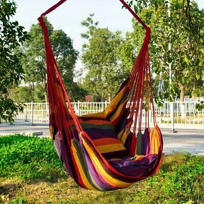Hanging Hammock Chair Portable Garden Swing Seat Tree Camping Poly Cotton • 17.12£