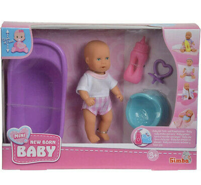 £14.99 • Buy Simba Mini New Born Baby Doll - Baby Really Drinks And Wets - Bath Time Playset