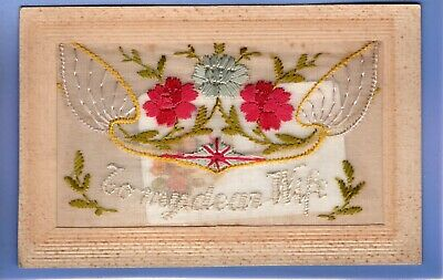 Super Ww1 War Floral Silk Postcard Sent By Soldier Back To Wife Insert Card     • 1.99£