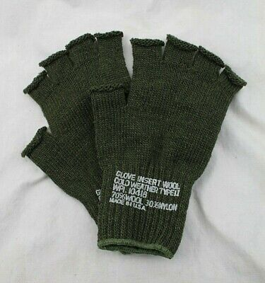 $8.49 • Buy  US Army Military Fingerless OD Green Wool Knit Gloves - USA Made
