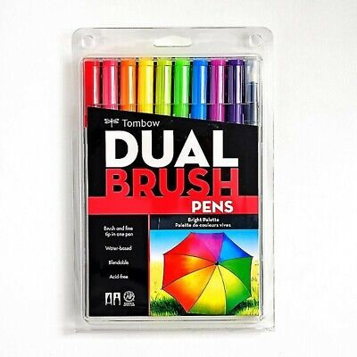AU15.51 • Buy Tombow Dual Brush Pen Art Markers - Brights Palette 10-Pack