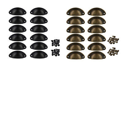 AU11.99 • Buy 1X(12Pcs Door Drawer Cabinet Iron Shell Cup Semicircle Handle Pull Knob WitE1R1)