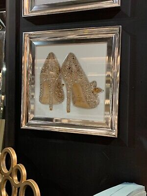 Gold JIMMY CHOO Shoe Liquid Wall Art Diamante Picture Frame Silver  • 55£