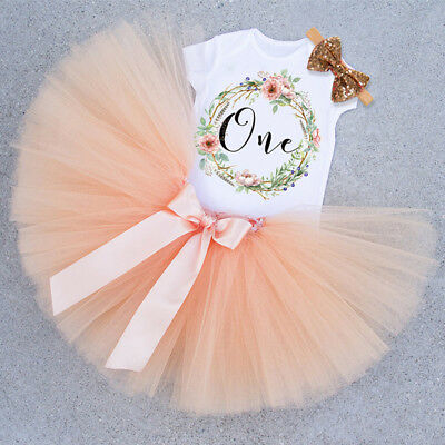 Baby Girls First 1st Birthday Outfit Tutu Skirt Dress +Headband Cake Smash Party • 13.67£