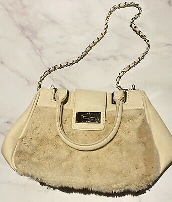 """AU27 • Buy Cute """" Forever New """" FAUX RABBIT FUR Bag In Nude Pink"""