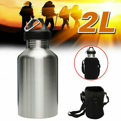 AU32.21 • Buy HOT 2L Silver Stainless Steel Large Mouth Water Bottle Kettle Cycling Sports