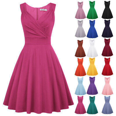 Women Vintage 1950s 60s Pinup Sleeveless Housewife Evening Party Swing TEA Dress • 18.81£