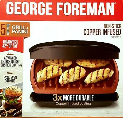 George Foreman Electric 5-Serving Electric Copper-Infused Plate Grill / Panini  • 34.49£