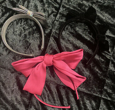 The Childrens Place Girls Bow Headbands Lot Of 3 Black Pink Iridescent Grey • 7.88£