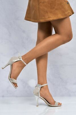 £21.99 • Buy Ladies Silver Strappy Diamante High Heel Peep Toe Ankle Strap Sandals Shoes 3-8