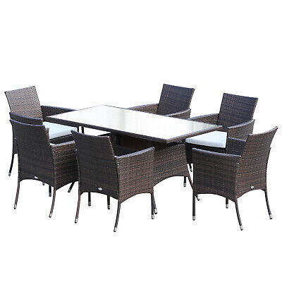£570.99 • Buy Outsunny Rattan Dining Set Garden Patio Furniture 6 Chairs Table Wicker Brown