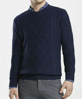 $109.95 • Buy Peter Millar Mountainside Upcountry Fisherman Cable Knit Blue Sweater - Mens S