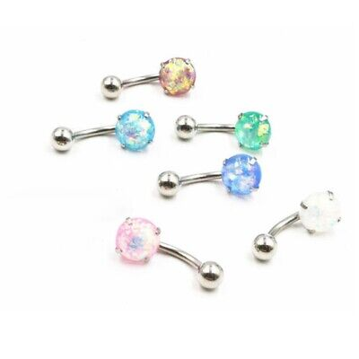 £2.40 • Buy Jewellery Opal Surgical Steel Belly Bars Body Piercing Navel Button Bar Ring