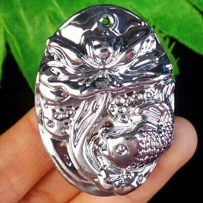 $ CDN5.17 • Buy F17629 Silver Titanium Crystal Carved Lotus Flower Fish Pendant 47x34x12mm
