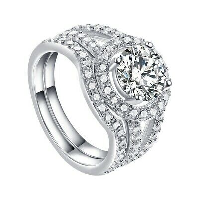 AU32.99 • Buy Women's 925 Sterling Silver Diamond Created Wedding Engagement Two Ring Set C32