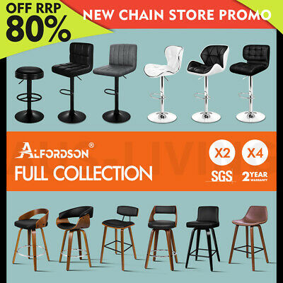 AU119.85 • Buy ALFORDSON Bar Stools Kitchen Stools Gas Lift Wooden Dining Chairs X1/x2/x4