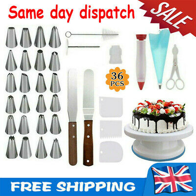 £12.17 • Buy 36PCS Cake Decorating Turntable Set Tools Mould Stainless Spatula Baking Nozzles