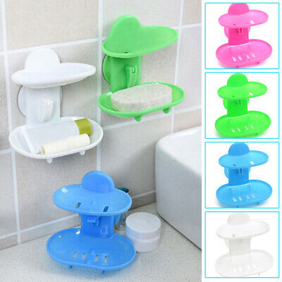 Suction Cup Soap Dish Double Layers Soap Box Bathroom Soap Holder Storage Case • 3.48£