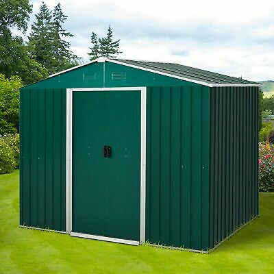 Outsunny 8 X 6ft Garden Storage Shed With Double Sliding Door Outdoor Green • 289.99£