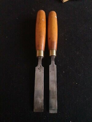 2 Vintage Marples 3/4  And 5/8  Firmer Chisels With Boxwood Handles • 10£