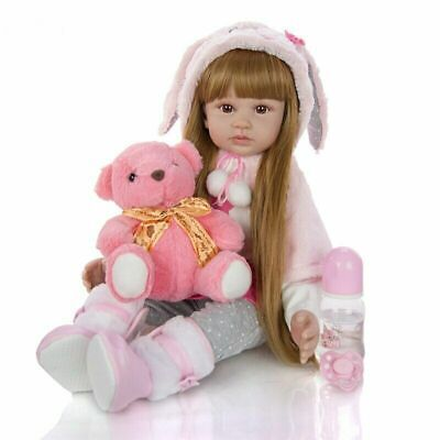 Realistic Girl 24  Cute Long Hair Baby Dolls Full Body Vinyl Silicone Toys Gifts • 59.99£