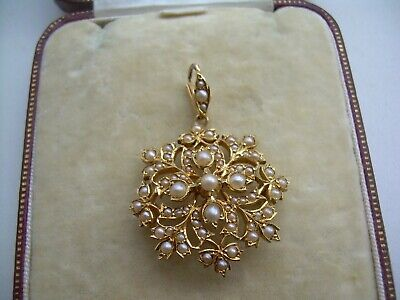 Antique Edwardian 15ct Gold Seed Pearl Pendant Brooch. • 175£