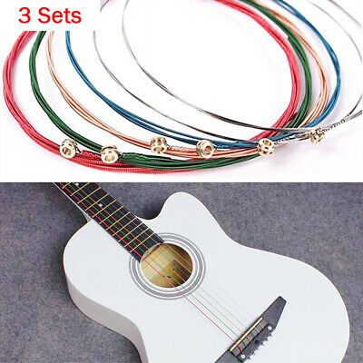 $ CDN0.01 • Buy 3 Sets 6Pcs Rainbow Colorful Copper Guitar Strings Classic Acoustic Steel Wire