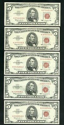 $ CDN33.17 • Buy US Paper Money Lot Of 5 1963 Red Seal $5 Notes NO RESERVE!