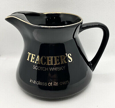 Vintage Teacher's Scotch Whisky Black And Gold Water Jug WADE PDM Pub Man Cave • 14.99£