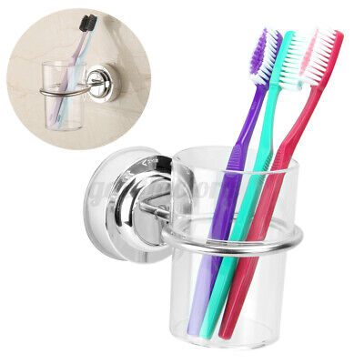 Chrome Bathroom Toothbrush Holder Tumbler Suction Cup Round Wall Mounted • 7.81£
